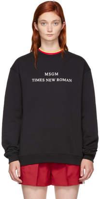 MSGM Black Times New Roman Sweatshirt