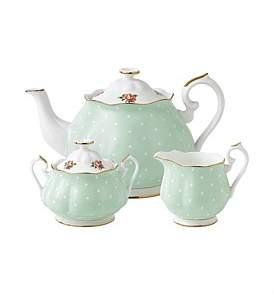 Royal Albert Polka Rose Teapot/Sugar/Creamer Set