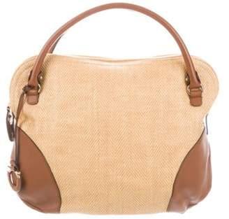Salvatore Ferragamo Leather-Trimmed Canvas Bag Natural Leather-Trimmed Canvas Bag