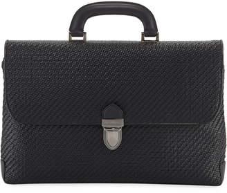 Ermenegildo Zegna Men's Pelle Tessuta Flat Briefcase Business Bag