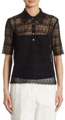 Thom Browne Engineered Lace Polo Collar Blouse