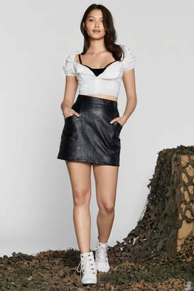 Nasty Gal After Party Vintage Drop Us A-Line Leather Skirt