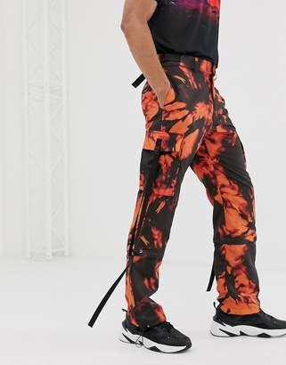 Jaded London drawstring cargo trousers in orange tie dye