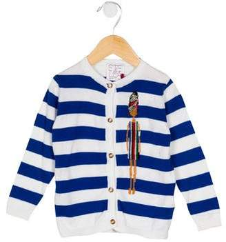 Stella Jean Boys' Striped Embroidered Cardigan w/ Tags