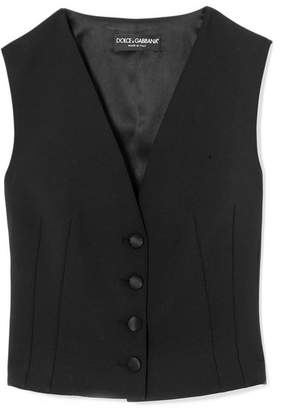 Dolce & Gabbana Stretch Wool And Silk-blend Crepe Vest - Black