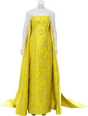 Elizabeth Kennedy Brocade Strapless Dress