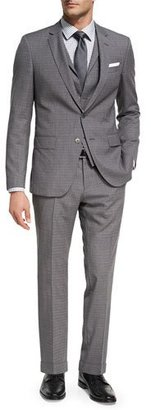 BOSS Broken Check Wool 3-Piece Suit, Gray $1,145 thestylecure.com