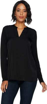 Lisa Rinna Collection Mixed Media Blouse with Pintuck Detail