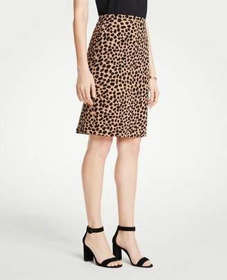 Ann Taylor Tall Cheetah Dot Flounce Back Pencil Skirt