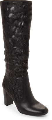 Vince Camuto Black Secillia Tall Perforated Leather Boots
