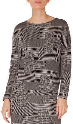 Akris Punto Crewneck Long-Sleeve Patchwork Knit Jacquard Top