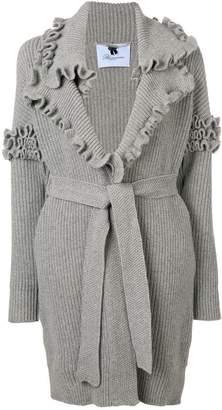 Blumarine ruffle trim cardi-coat