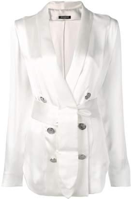 Balmain belted wrap blouse