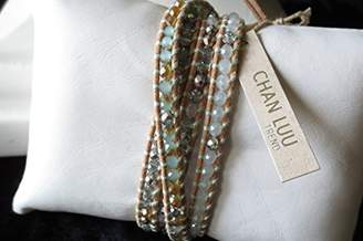 Chan Luu 5 Wrap Leather Bracelet Mint Mixed Chinese Crystals