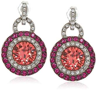 Swarovski Platinum-Plated Crystal Padparadsha Round-Cut Double Halo with and Clear Stud Earrings