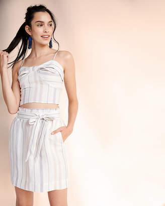 Express Striped Linen-Blend Sash Waist Pencil Skirt