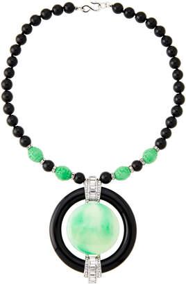 Kenneth Jay Lane Black & Jade-Tone Beaded Necklace