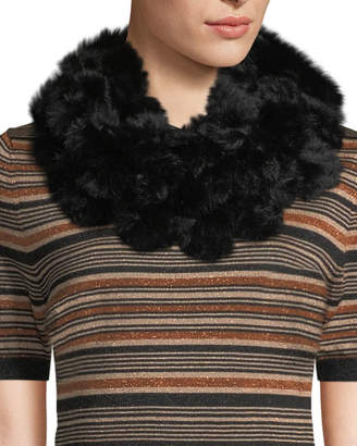Adrienne Landau Rabbit Fur Pompom Neck Warmer, Black