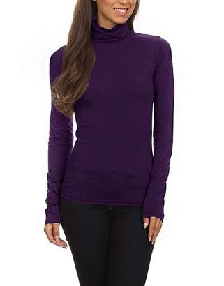 Couture Zumie Cotton Jersey Solid Long Sleeve Fitted Turtleneck Top S by Color Story
