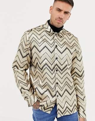 Asos DESIGN party chevron stripe overshirt in gold