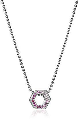 Alex Woo Little Elements Sterling Silver Hexagon with Swarovski Genuine Sapphires Pendant Necklaces