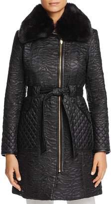 Via Spiga Faux Fur Trim Belted & Quilted Coat