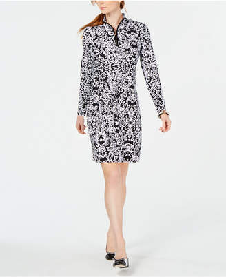 Charter Club Quarter-Zip Printed Shift Dress, Created for Macy's