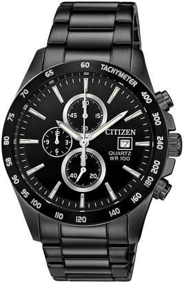 Citizen Men's Chronograph Quartz Black Stainless Steel Bracelet Watch