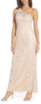 Eliza J One-Shoulder Lace Gown