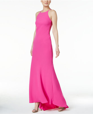 Calvin Klein Lattice-Trim Halter Gown $199 thestylecure.com