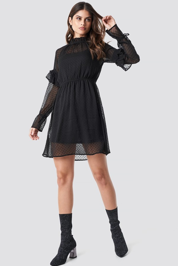 Rut&Circle Swiss Dot Dress Black