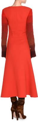 Agnona Colorblock-Sleeve Wool Dress