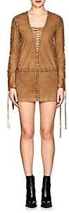 Saint Laurent Women's Lace-Up Suede Minidress - Camel
