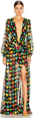 Versace Heart Long Evening Gown in Black Multicolor | FWRD