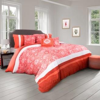 Comforter Set- 5 Piece King Bedding Set Whimsical Floral Design By Lavish Home