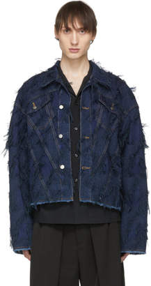 Chin Mens Blue Denim Tassel Jacket