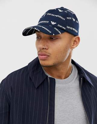 Emporio Armani all over logo baseball cap in navy