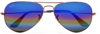 Ray-Ban - Aviator Glittered Metal Mirrored Sunglasses - Bronze $175 thestylecure.com