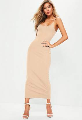 Missguided Nude Ribbed Strappy Midi Dress