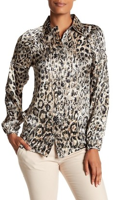 Robert Graham Meredith Sequin Animal Print Silk Blouse $229 thestylecure.com
