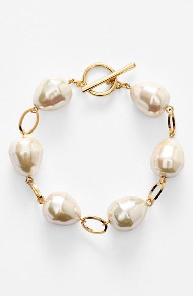 Lauren Ralph Lauren Faux Pearl Toggle Bracelet