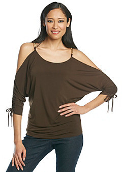 MICHAEL Michael Kors Cold Shoulder Ruched Sleeve Top