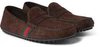 Gucci Webbing-Trimmed Suede Loafers
