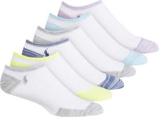 Polo Ralph Lauren 6-Pk. Contrast Heel-and-Toe Marled Low-Cut Socks