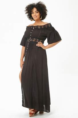 e5a24e1425e Forever 21 Plus Size Boho Me Crochet-Trim Maxi Dress