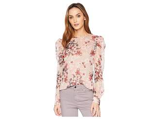 Vince Camuto Puff Shoulder Long Sleeve Timeless Blooms Floral Blouse Women's Blouse
