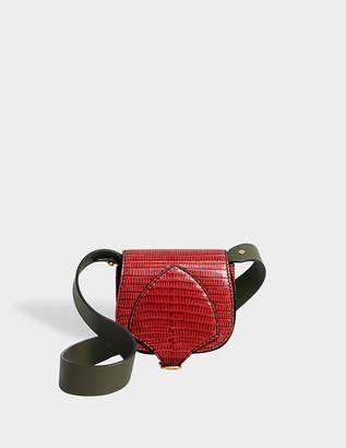 Burberry The Satchel Micro Bag in Vibrant Red and Flax Yellow Lizzard