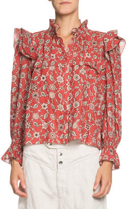 Etoile Isabel Marant Tedy Printed Linen High-Neck Ruffle Top