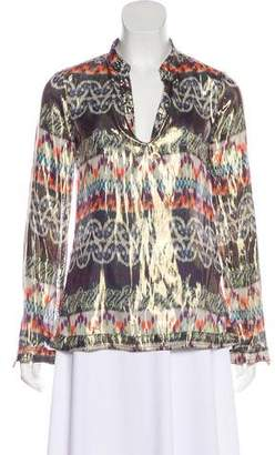 Tory Burch Metallic Long Sleeve Blouse