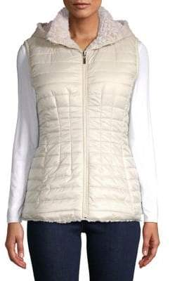 Gallery Quilted Faux Fur Hooded Vest